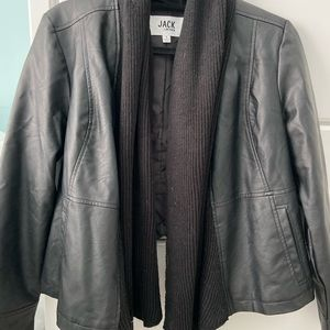 Black leather and knit jacket